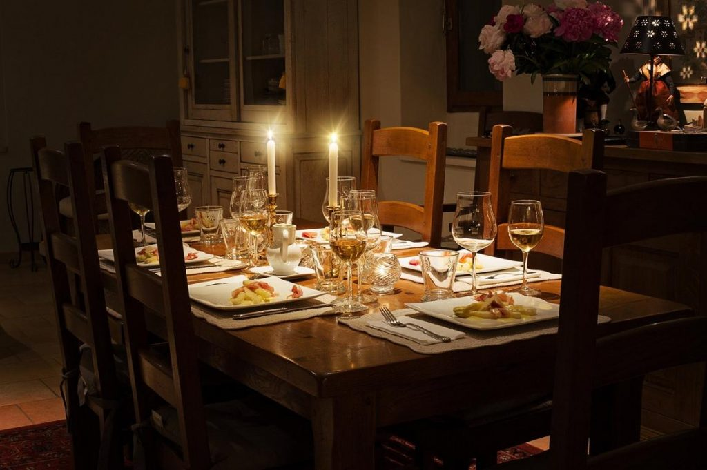 dinner table with dark colors