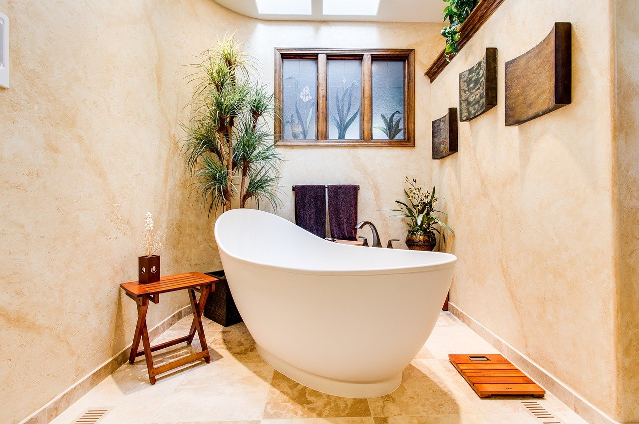 bathroom decor deco plants bathtub